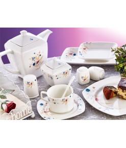 Evimsaray 46 Parça ES-461 Fine Bone Kare Porselen Kahvaltı Takımı
