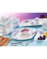 Evimsaray 46 Parça  ES-462 Fine Bone Kare Porselen Kahvaltı Takımı