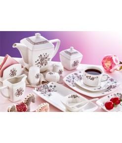 Evimsaray 46 Parça ES-463 Fine Bone Kare Porselen Kahvaltı Takımı