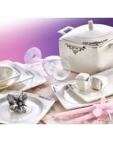 Evimsaray SRY-263 61 Parça Fine Bone Kare Porselen Yemek Takımı
