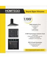 Homtego Ankastre Set 18-14 ( A6S2 Siyah Fırın + 410 BF Emaye Ocak + DP6 S Davlumbaz )