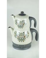 King P315  Anatolia Desenli Çelik Çay Makinesi Bej