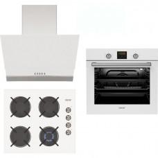 Ankastre Set - Simfer Oscar Beyaz 3' lü Ankastre Set (8056 8 Fonksiyonlu ve Turbo Fanlı Fırın + 3603 Gaz Kesme Emniyetli Ocak + 5668 Push Buton Kontrollü Davlumbaz)